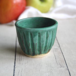 Image of Green Match Striker Cup, Stoneware Shot Glass, Handcrafted Pottery Cup Made in USA