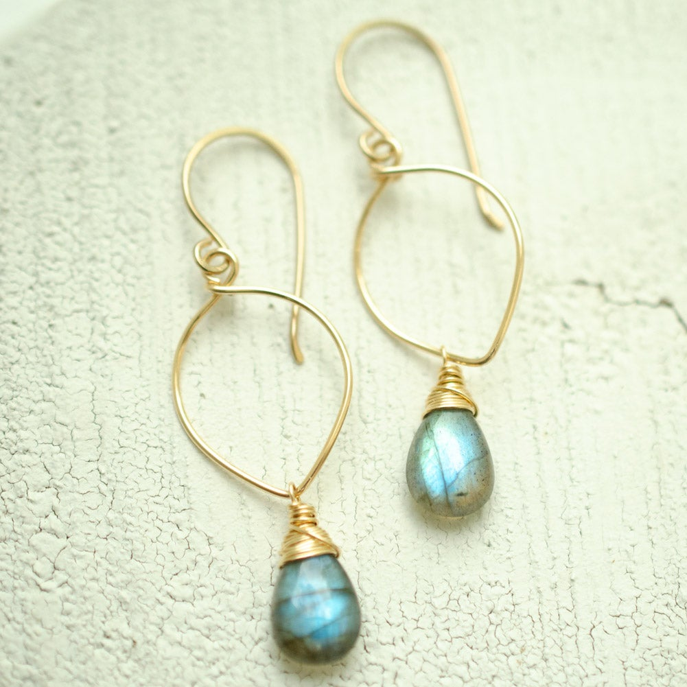 Image of Medium Labradorite Lotus Loop Earrings