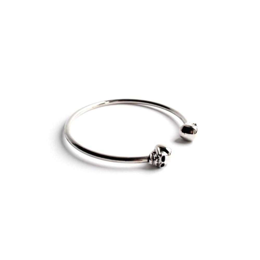 Image of Calavera Skull Bangle Bracelet (Sterling Silver)