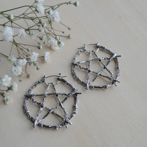 Image of Number 5 Pentacle Hoop earrings