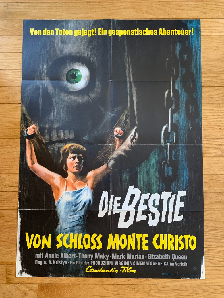 Image of 1963 THE BEAST OF MONTE CRISTO CASTLE Original German A1 Movie Poster