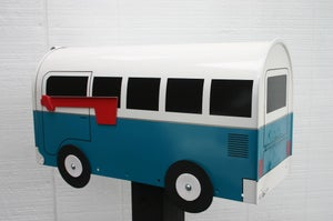 Image of Large Capacity Wildflower Blue Rural VW Mailbox - Choose Your Color Volkswagen Bus by TheBusBox