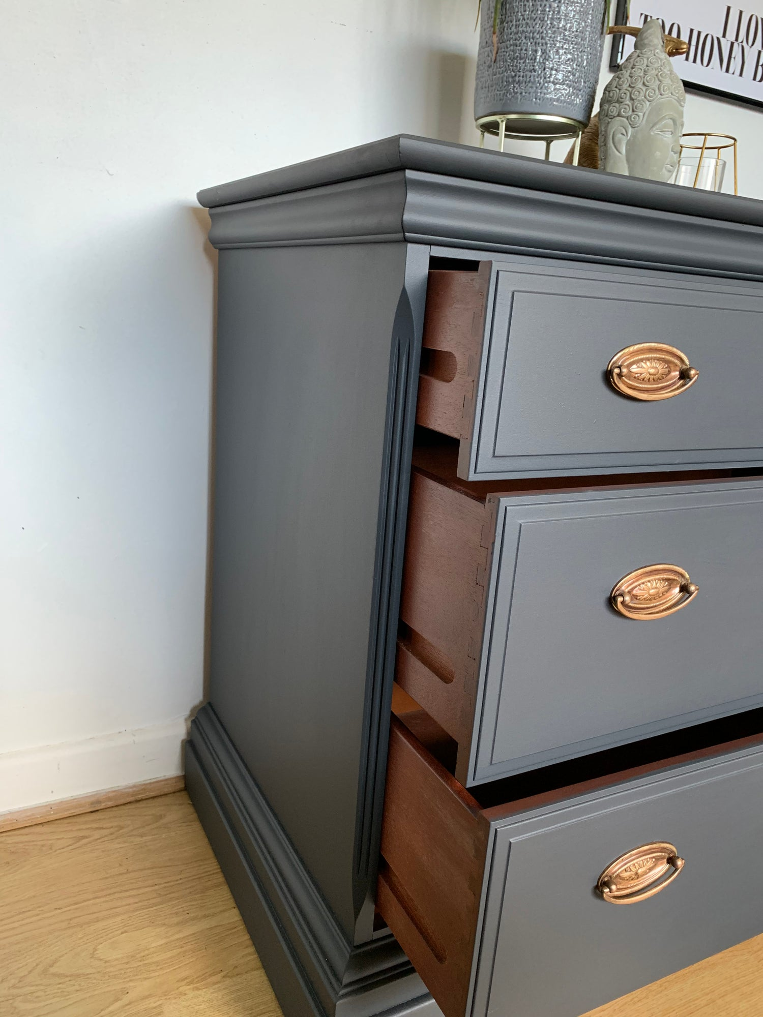 Image of A pair of stag mahogany chest of drawers