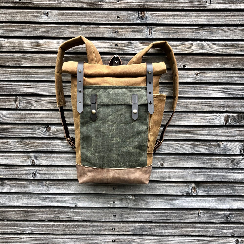 Image of Waxed canvas leather Backpack medium size / Commuter backpack / Hipster Backpack with roll top and l