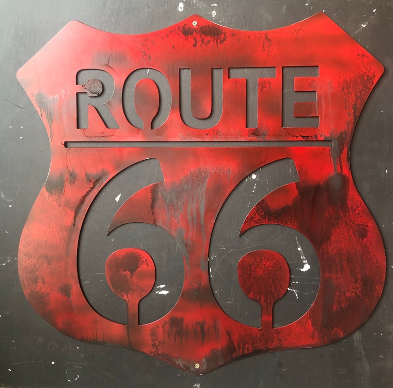Image of Route 66 Custom Patina'd Sign