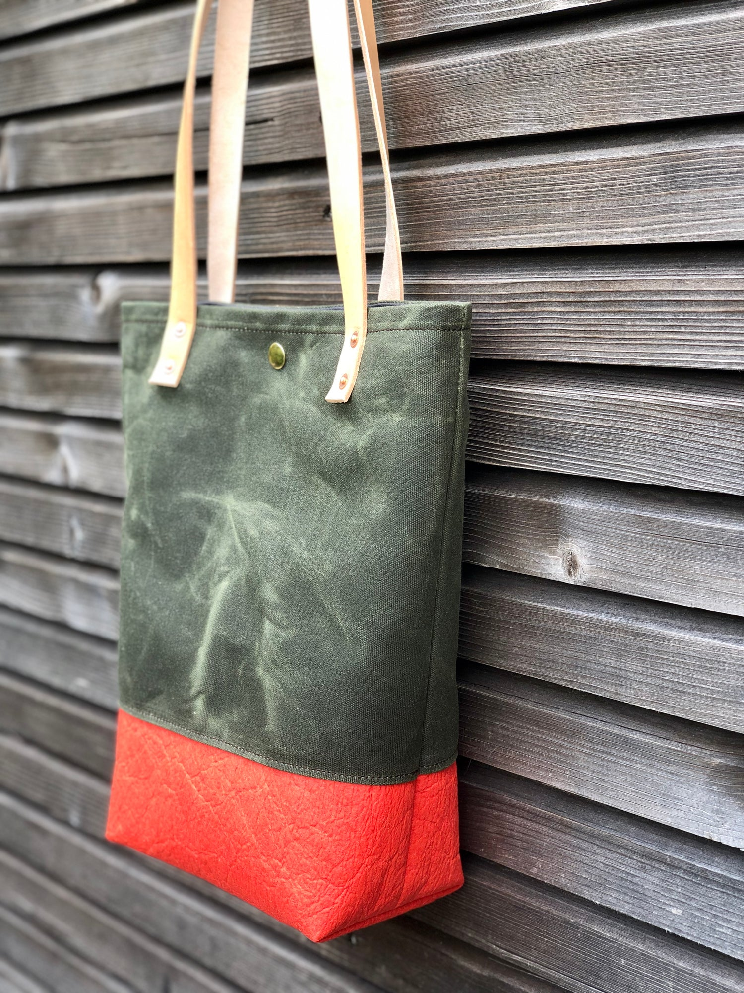 Image of Waxed canvas and Piñatex™ tote bag - eco friendly simple tote bag - tote bag with red bottom