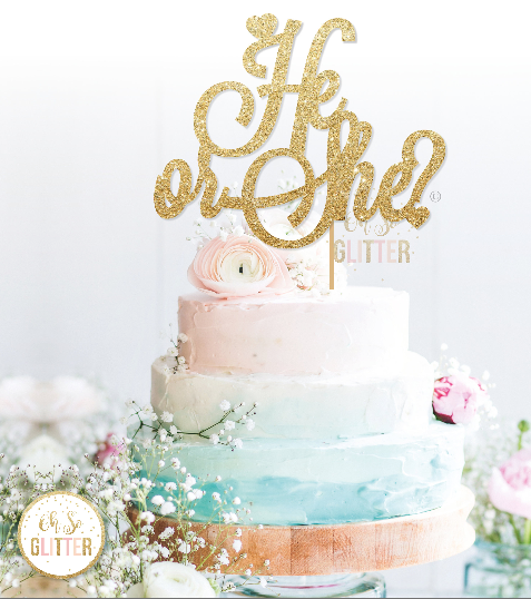 Image of He or She Cake Topper