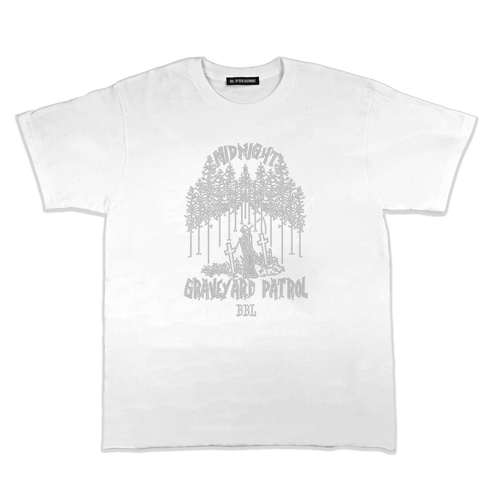 Image of Graveyard Patrol Rhinestone T-Shirt (White)