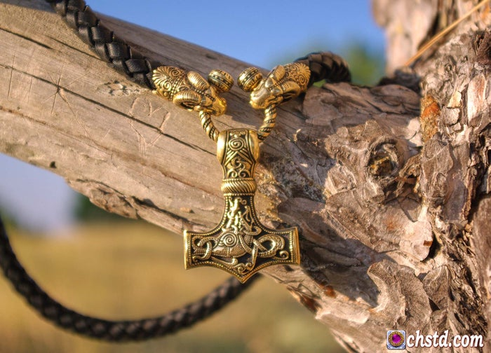 Thor's Hammer : MJOLNIR - Aries Heads Leather Necklace