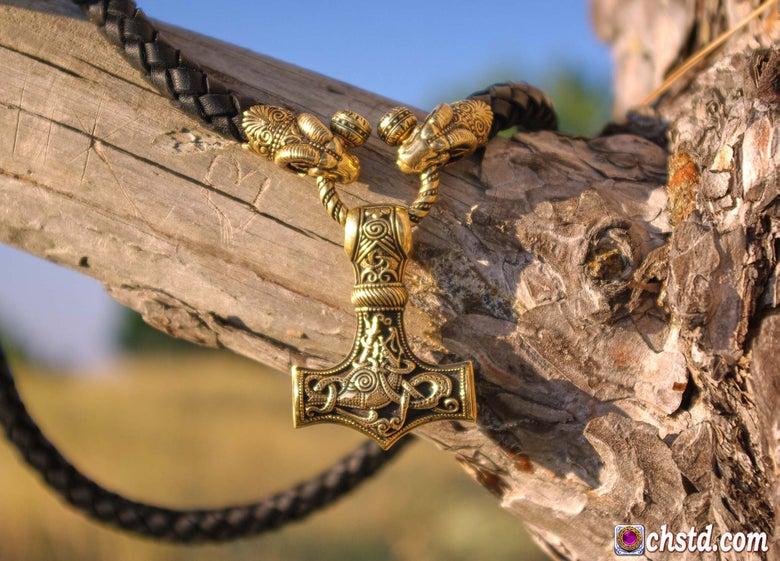 Image of Thor's Hammer : MJOLNIR - Aries Heads Leather Necklace