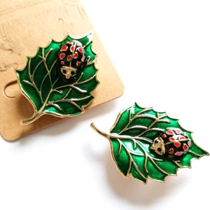 Image of Ladybird Leaf Enamel Brooch Pin