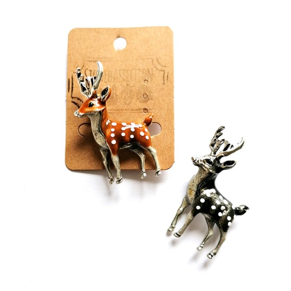 Image of Woodland Deer Enamel Brooch Pin