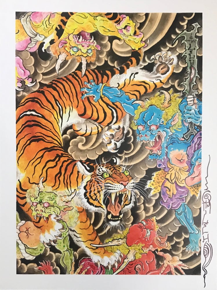 "Image of Tim Lehi ""Oni Tiger Dust Up"" Signed Poster"