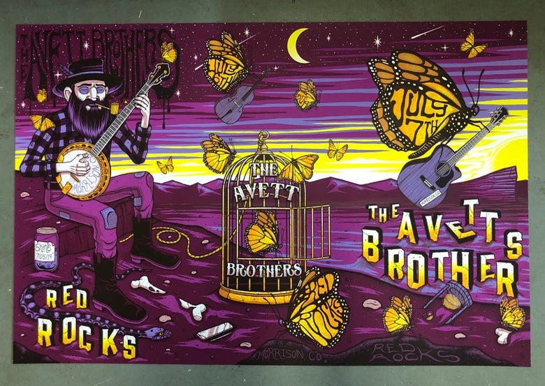 Image of The Avett Brothers - Red Rocks 2019 - Merch Artist Edition Color UNCUTS REG/RAINBOW FOIL/GOLD FOIL