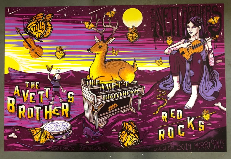 Image of The Avett Brothers - Red Rocks 2019 - VIP Artist Edition Color UNCUTS REG/RAINBOW FOIL/GOLD FOIL