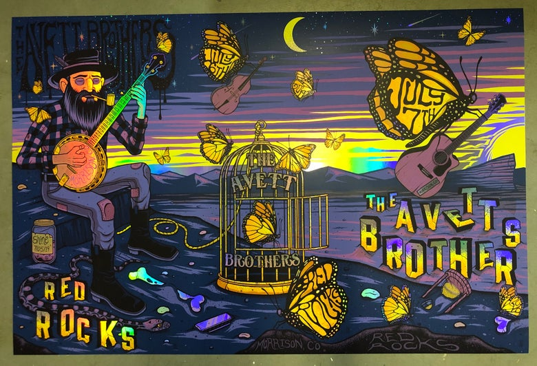 Image of The Avett Brothers - Red Rocks 2019 - Merch Artist Edition Show Color UNCUTS  RAINBOW FOIL/GOLD FOIL