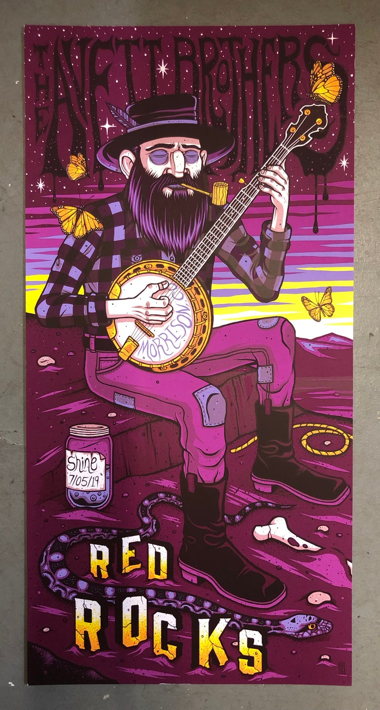 Image of The Avett Brothers - Red Rocks 2019 - Merch Artist Edition Color-CUTS-REGS/RAINBOW FOIL/GOLD FOIL