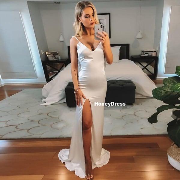 Image of Ivory White V-Neck Mermaid Long Evening Dress, Silk Satin Prom Dresses With Side Slit Long Train