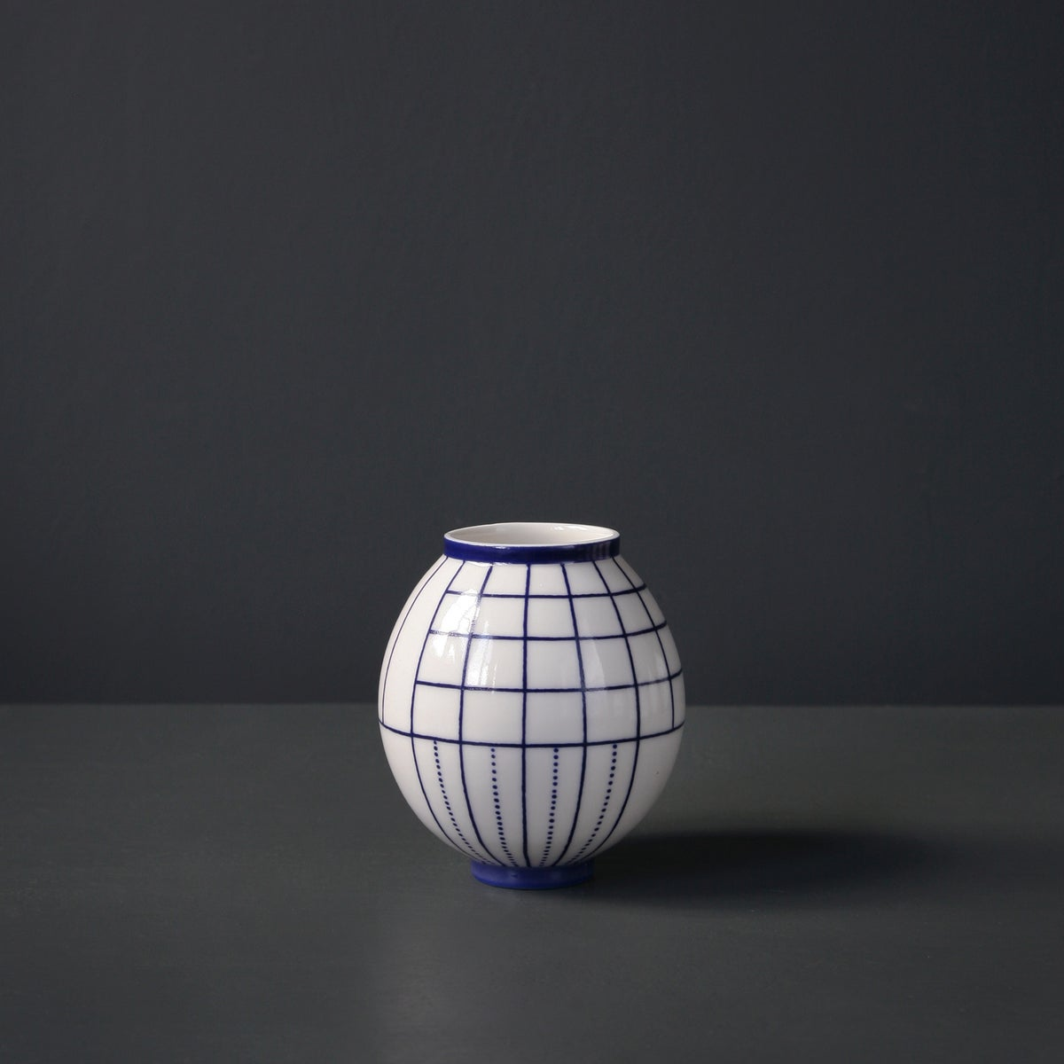 Image of 'Geometric' Moon Jar by Rhian Malin.