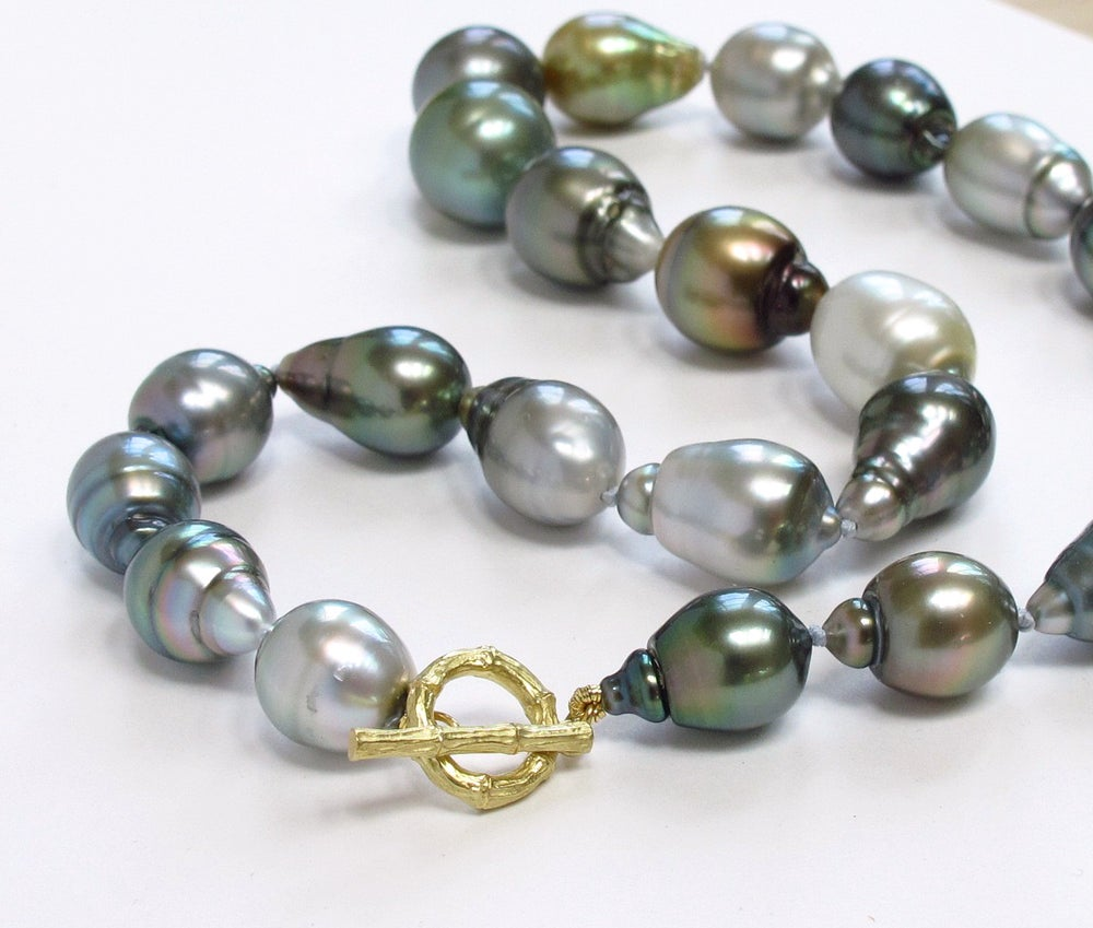 Image of Tahitian Pearl Multi Baroque Necklace Bamboo Toggle