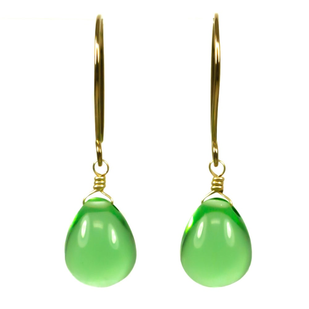 Image of Apple green glass drop earrings