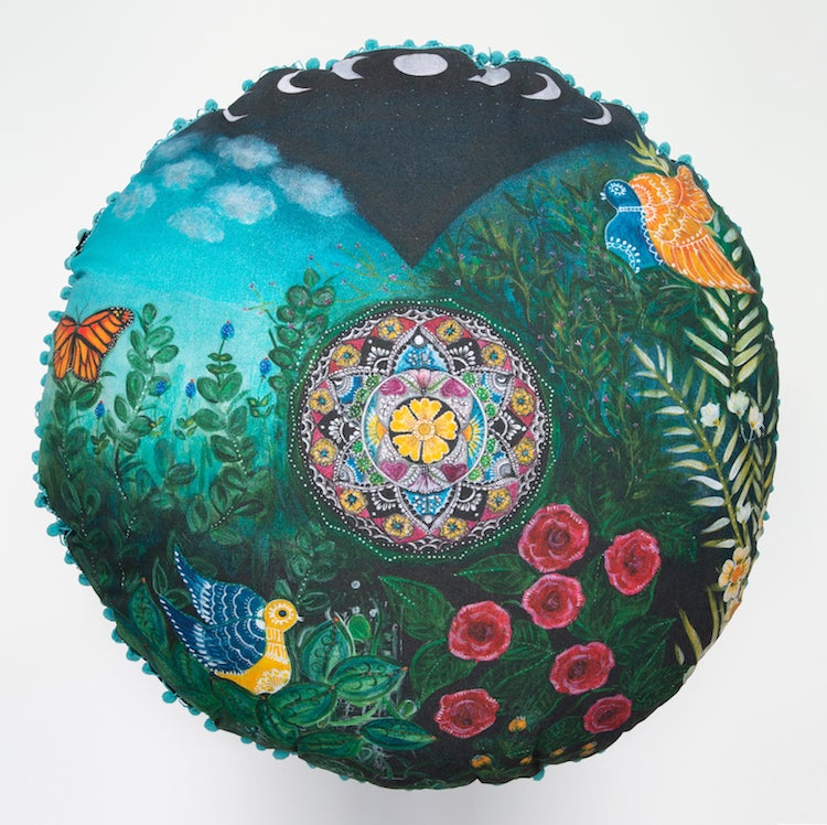 "Image of ""Love and Compassion"" - Mexican Moon Meditation Cushion"