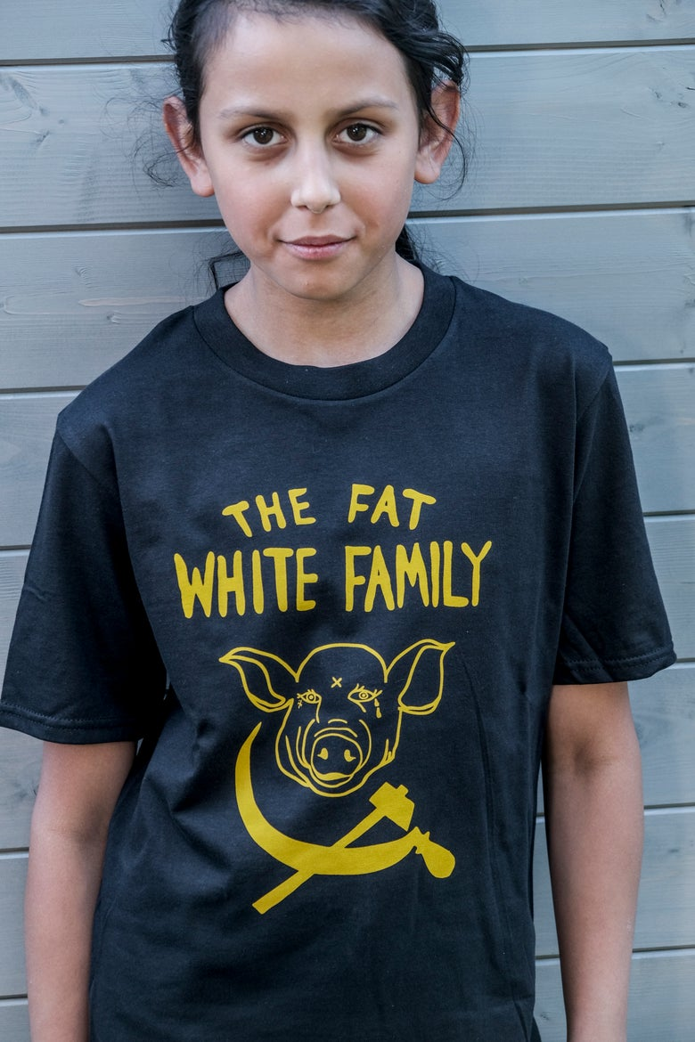 Image of Fat White Family Tee Yellow on Black