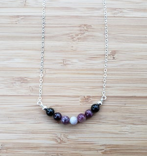 Image of Gemstone SS Necklace 3 - Tourmaline