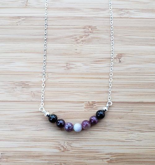 Image of Gemstone SS Necklace 3 - Tourmaline