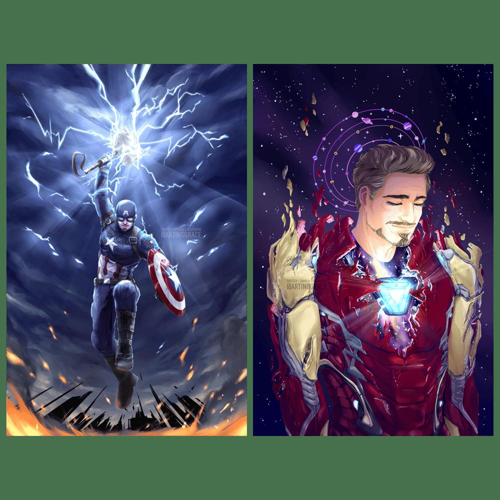 Image of [Holo prints] Cap & Iron Man