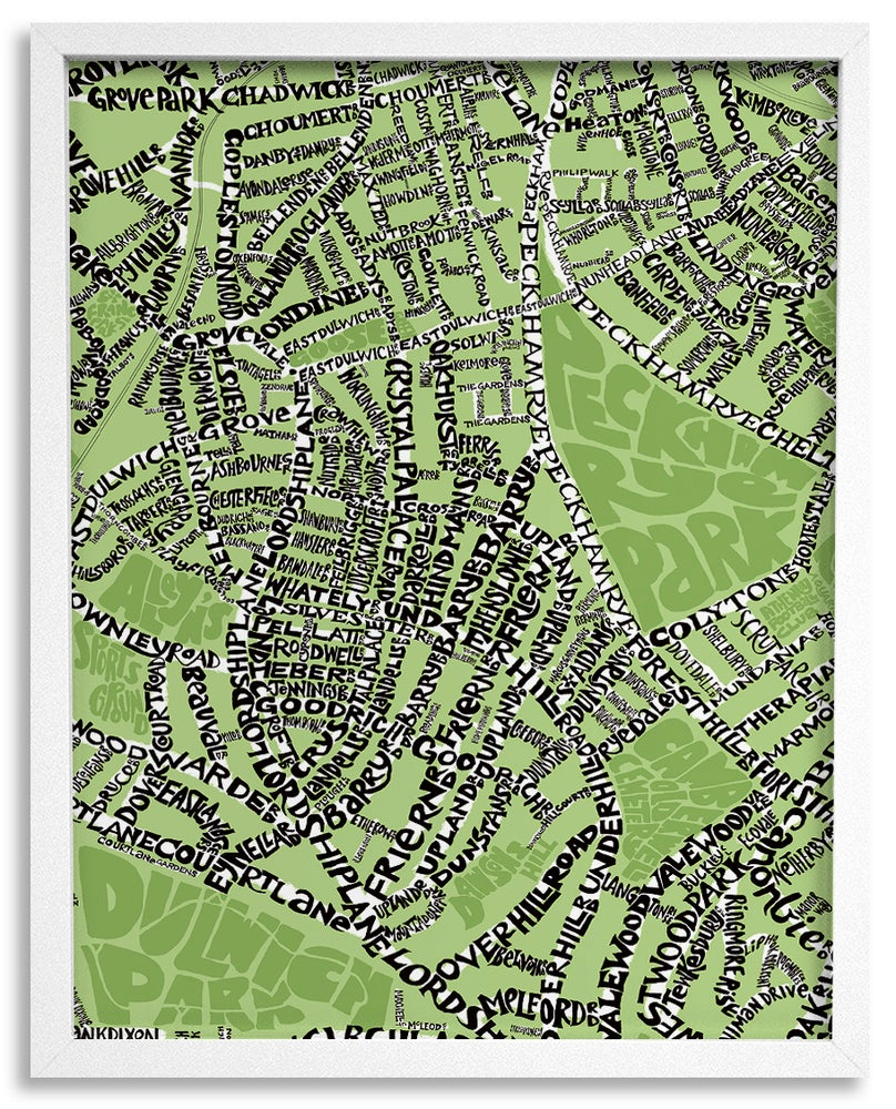 Image of East Dulwich SE22 & Peckham Rye SE15 - SE London Type Map - various colours
