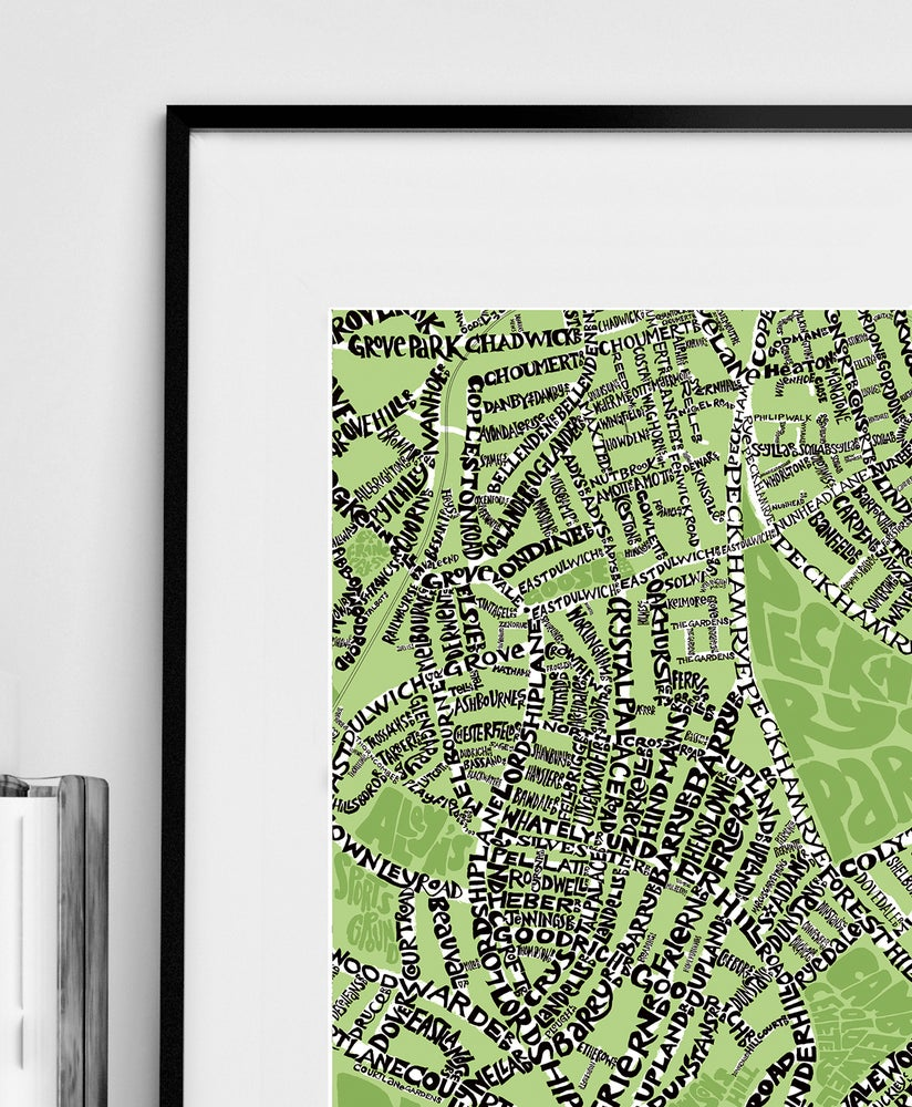 Image of SE22 East Dulwich - London Type Map - Black text on a colour background