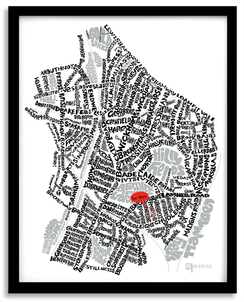 Image of Brockley & Crofton Park SE4 - SE London Type Map - White