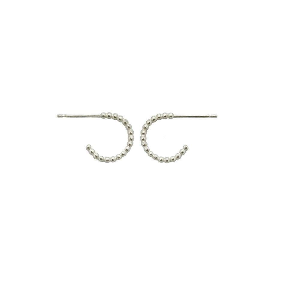 Image of Mini beaded silver hoops