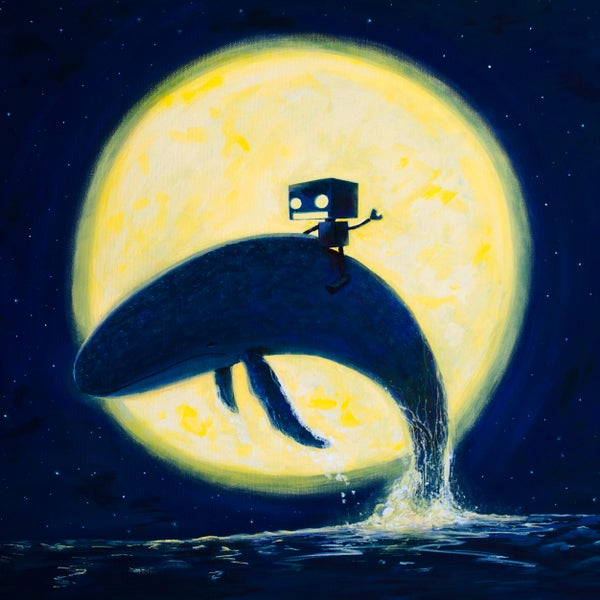 Whale Rider (Whale of a Time) Original Painting - Matt Q. Spangler Illustration