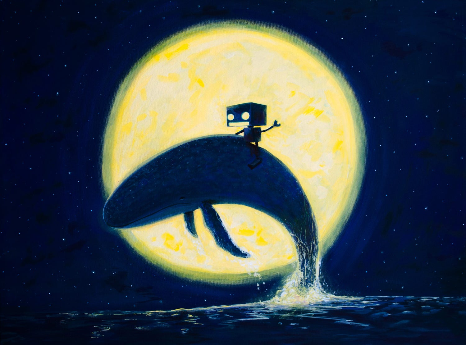 Image of Whale Rider (Whale of a Time) Original Painting