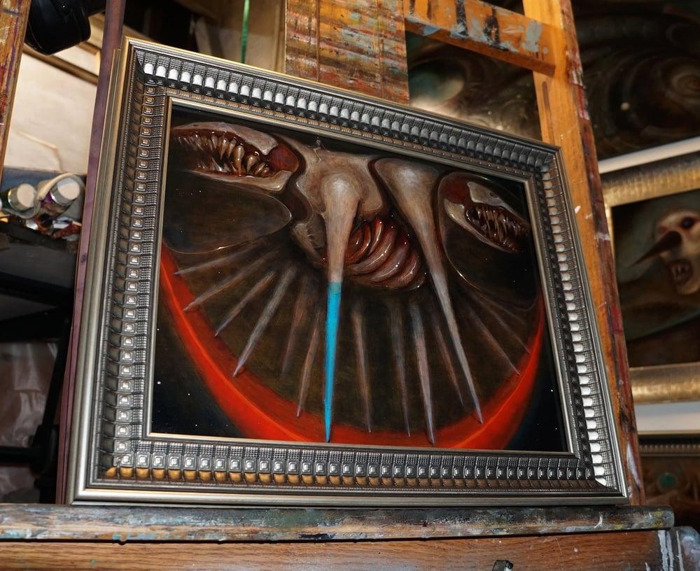 Image of untitled (dog rocker) original oil painting on wood panel