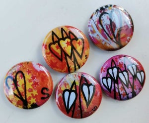 Image of SEAN WORRALL - SET OF FIVE POP ART LEAFY PUNK ROCK BADGES