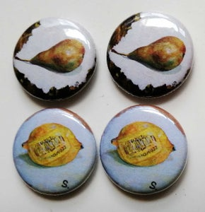 Image of SEAN WORRALL - SET OF TWO FRUIT SHOP POP ART BADGES