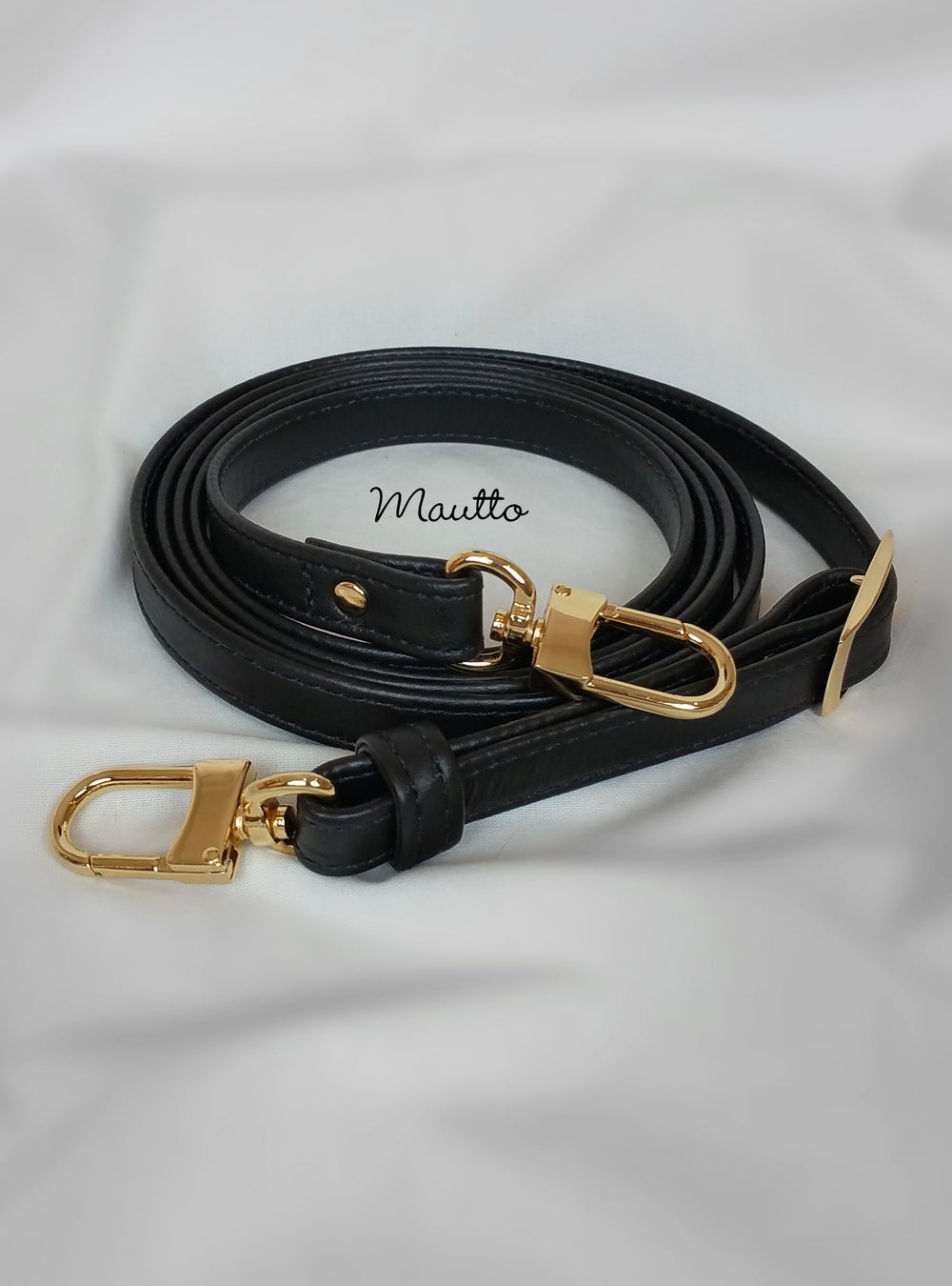 "Image of Black Leather Strap for Louis Vuitton Pochette/Alma/Eva/etc - .5"" Wide - Fixed or Adjustable Lengths"
