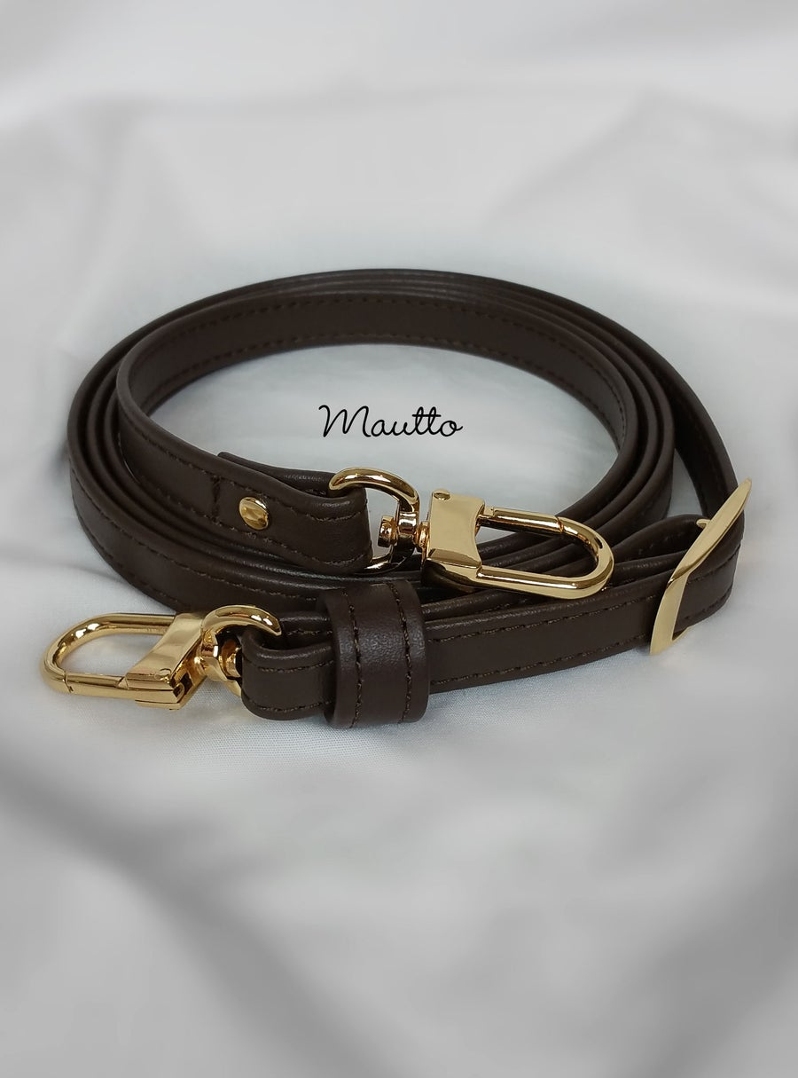 "Image of Dark Brown Leather Strap for Louis Vuitton Pochette/Eva/etc - .5"" Wide - Fixed or Adjustable Lengths"