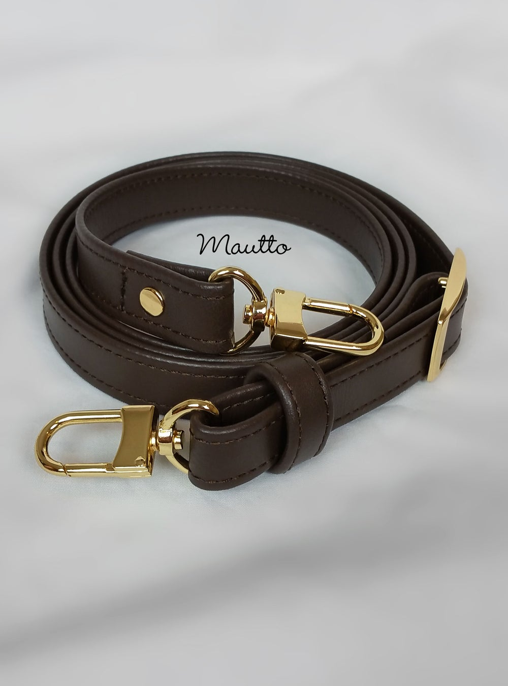 """Image of Dark Brown Leather Strap for Louis Vuitton, Coach, etc - 3/4"""" Wide - Top Handle to Crossbody Lengths"""