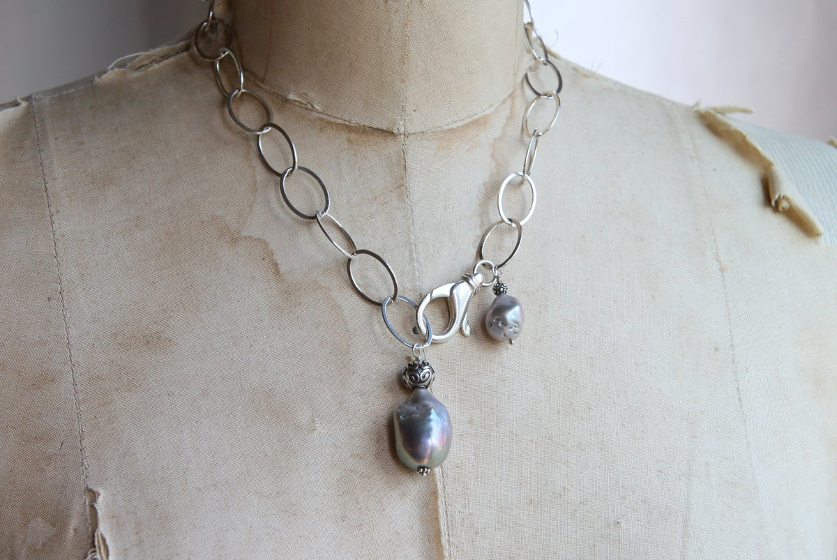 Grey Baroque Pearls on Sterling Chain