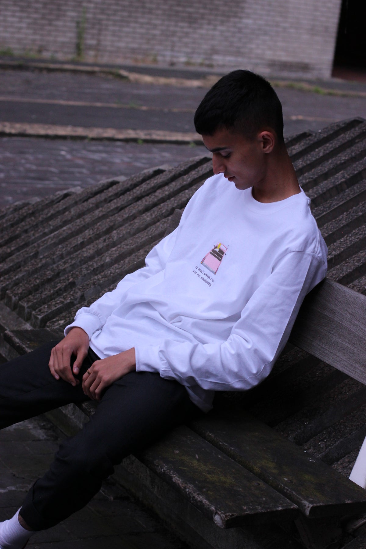 Image of 'Hit and Run' Long Sleeve T-Shirt White