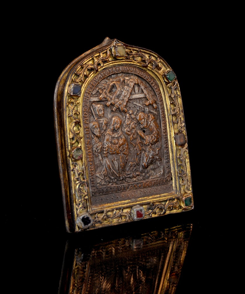 Image of 15th century bejeweled French pax depicting the Nativity