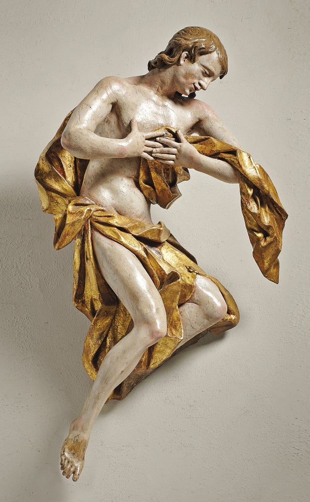 Image of An 18th century polychrome and gilt wood Angel from the Circle or Workshop of Franz Ignaz Günther