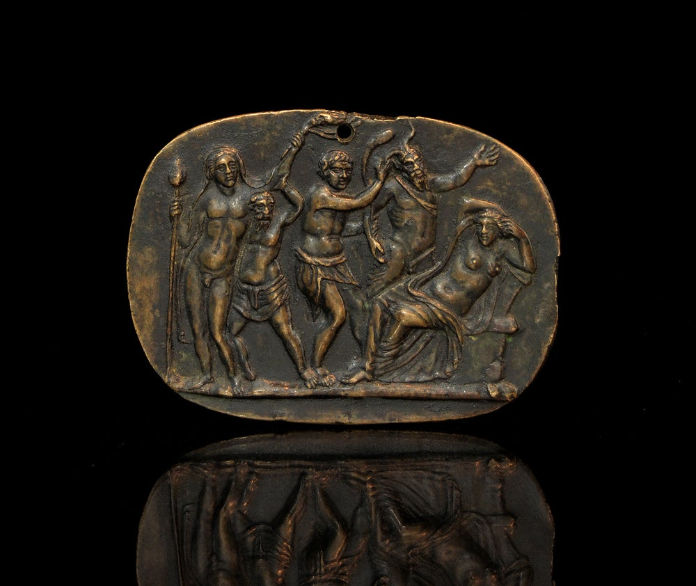 Image of Scarce 15th cent. bronze plaquette of Bacchus Discovering Ariadne on Naxos, Circle of Donatelllo