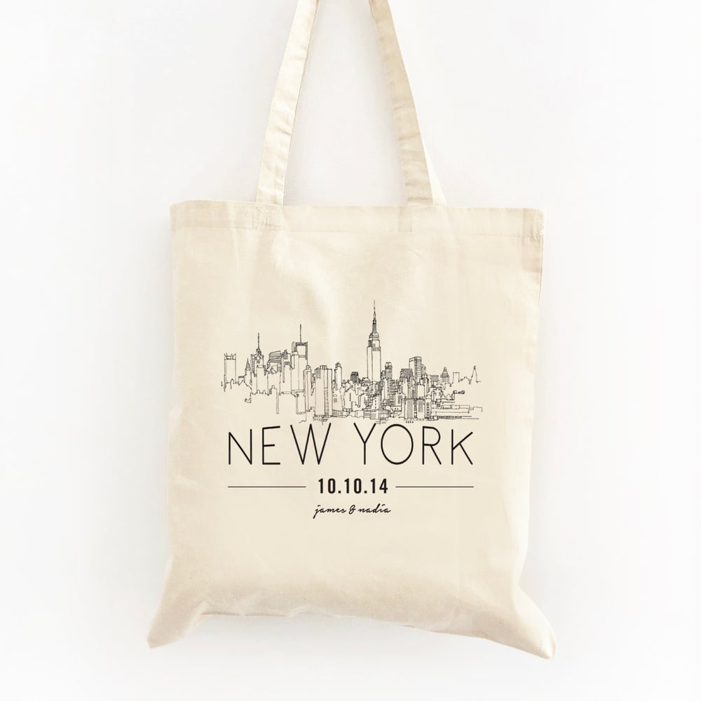 Image of Customizable NYC Skyline Wedding Welcome Tote Bag
