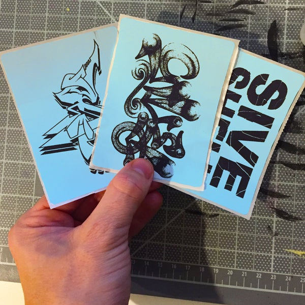 Image of Fluorescent Blue Custom Thermal Transfer Stickers