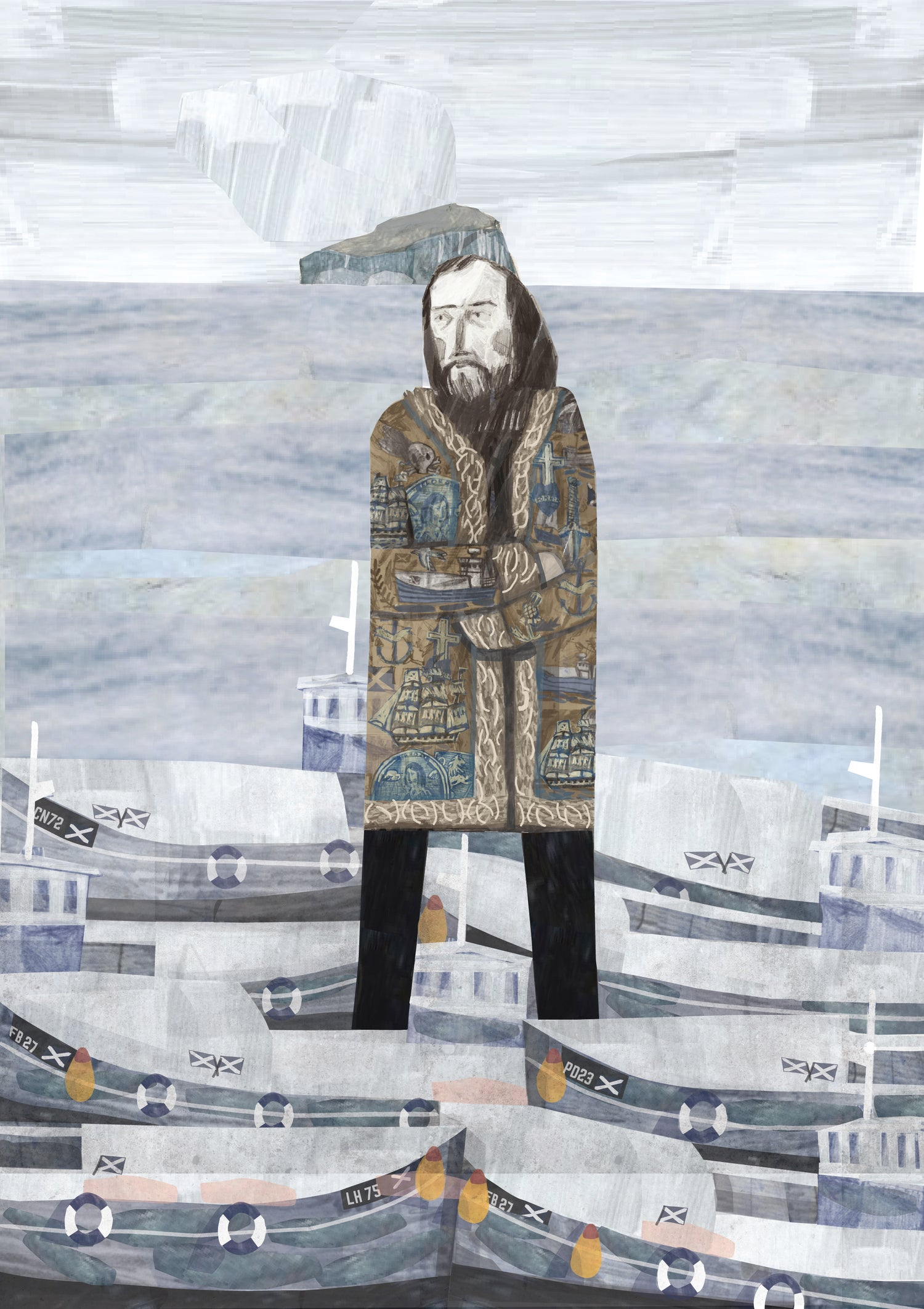 Image of John Bellany is wearing his Afghan coat as he watches the boats in Port Seton